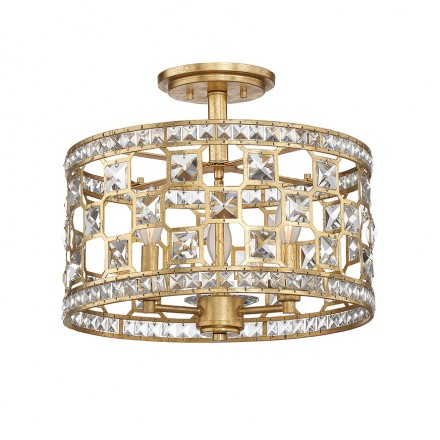 Savoy House Europe Clarion 3 Light Crystal Semi-Flush