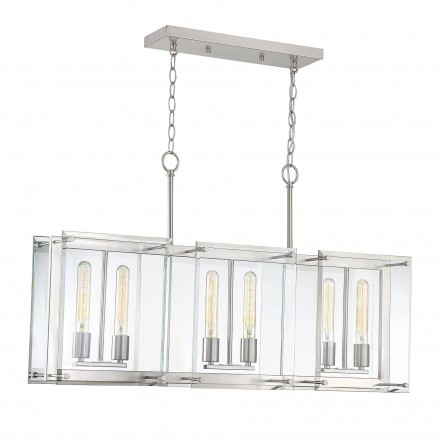 Savoy House Europe Prescott 6 Light Satin Nickel Linear Chandelier
