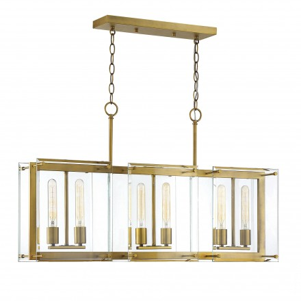 Savoy House Europe Prescott 6 Light Warm Brass Linear Chandelier