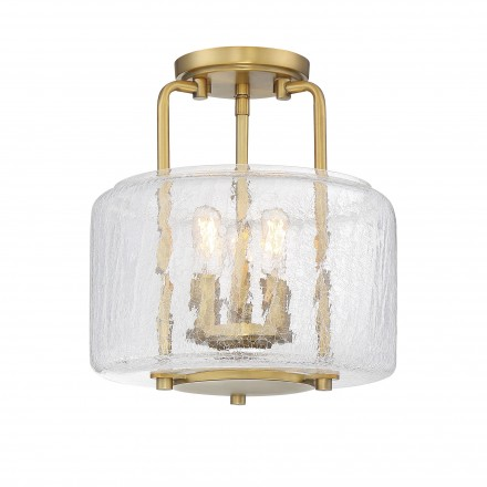 Savoy House Europe Avalon 3 Light Warm Brass Semi Flush Mount