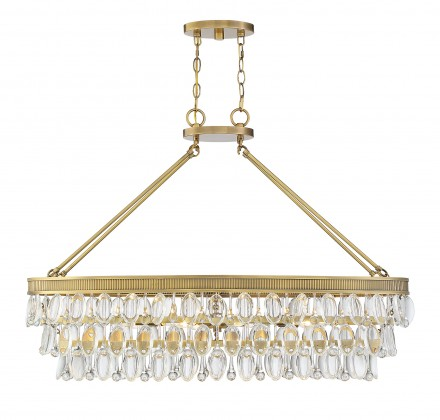 Savoy House Europe Windham 8 Light Warm Brass Linear Chandelier