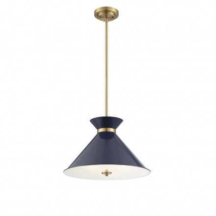 Savoy House Europe Lamar Navy Blue with Brass Accents 3 Light Pendant