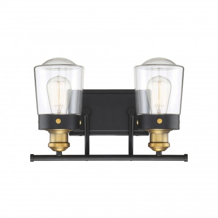 Savoy House Europe Macauley Vintage Black With Warm Brass 2 Light Bath