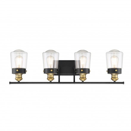 Savoy House Europe Macauley Vintage Black With Warm Brass 4 Light Bath
