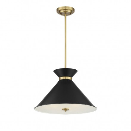 Savoy House Europe Lamar Black with Warm Brass Accents 3 Light Pendant