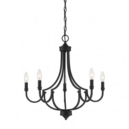 Savoy House Europe Auburn Matte Black 5 Light Chandelier
