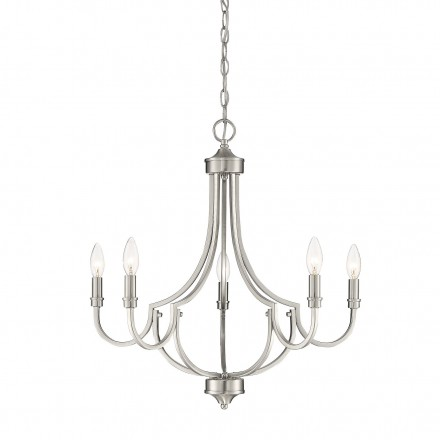 Savoy House Europe Auburn Satin Nickel 5 Light Chandelier