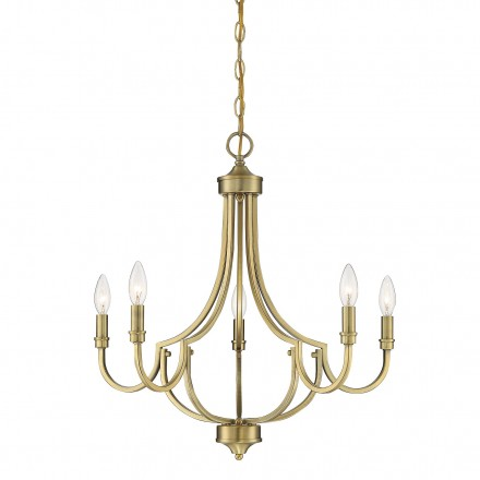 Savoy House Europe Auburn Warm Brass 5 Light Chandelier