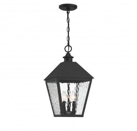 Savoy House Europe Harrison Matte Black 3 Light Outdoor Pendant