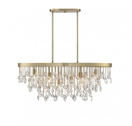 Savoy House Europe Livorno Noble Brass 8 Light Linear Chandelier