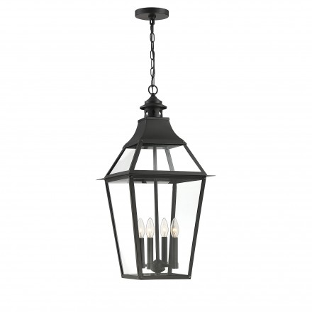 Savoy House Europe Jackson Black With Gold Highlighted 4 Light Outdoor Pendant