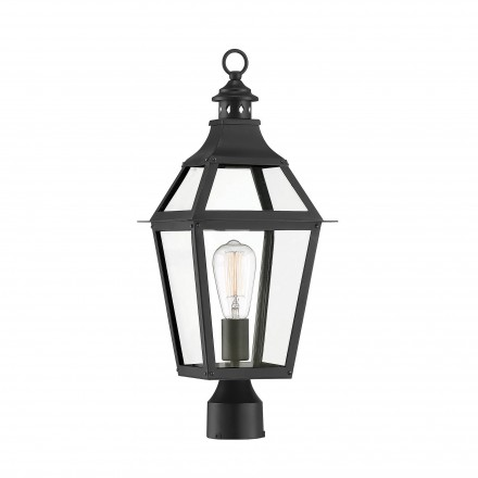 Savoy House Europe Jackson Black With Gold Highlighted 1 Light Outdoor Post Lantern