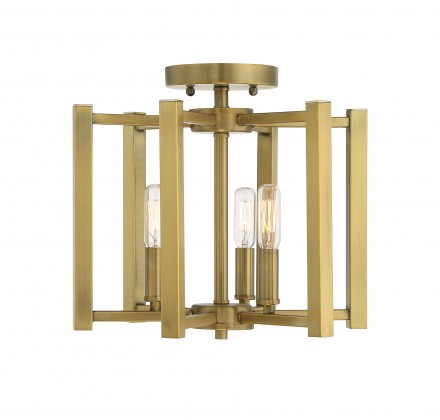 Savoy House Europe Benson 3 Light Warm Brass Semi Flush