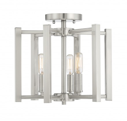 Savoy House Europe Benson 3 Light Satin Nickel Semi Flush