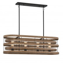 Savoy House Europe Blaine 4 Light Natural Walnut & Black Accents Linear Chandelier