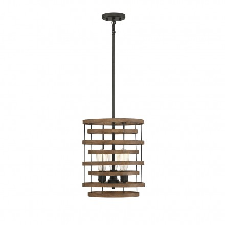 Savoy House Europe Blaine 3 Light Natural Walnut & Black Accents Pendant