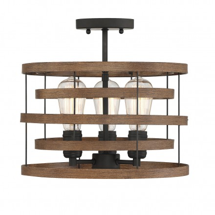 Savoy House Europe Blaine 3 Light Natural Walnut & Black Accents Convertible Semi-Flush