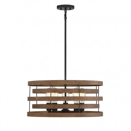 Savoy House Europe Blaine 5 Light Natural Walnut & Black Accents Pendant