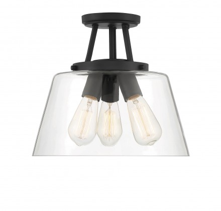 Savoy House Europe Calhoun 3 Light  Matte Black Semi-Flush