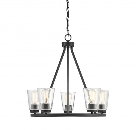 Savoy House Europe Calhoun 5 Light Matte Black Chandelier