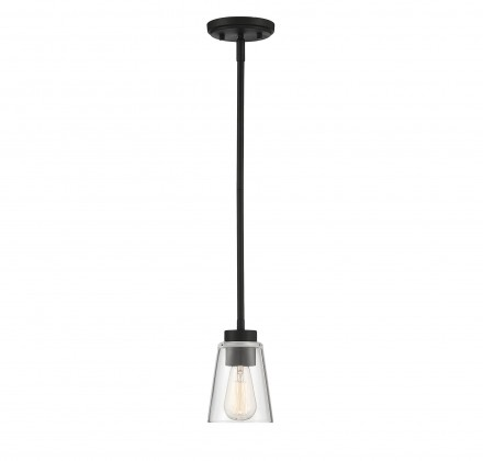 Savoy House Europe Calhoun 1 Light  Matte Black Small Mini-Pendant