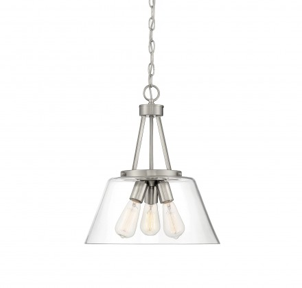 Savoy House Europe Calhoun 3 Light Satin Nickel Pendant