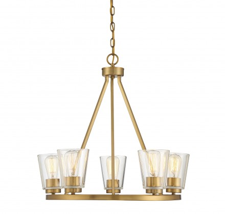 Savoy House Europe Calhoun 5 Light Warm Brass Chandelier