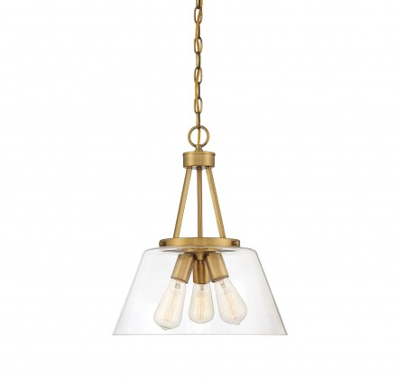Savoy House Europe Calhoun 3 Light Warm Brass Pendant